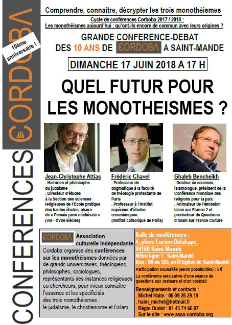 Conférence : quel futur pour les monothéismes ?