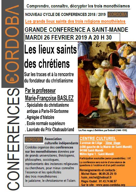 Conférence lieux saints chrétiens 26 février 2019