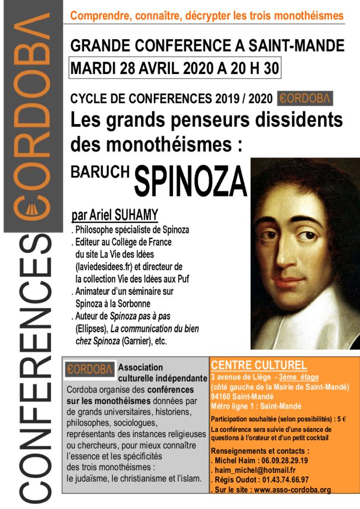 Conférence Spinoza 28 avril