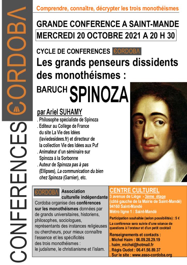 Conférence Spinoza 20 octobre